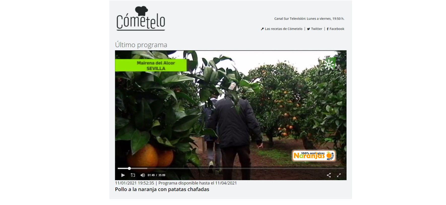 Naranjas Ecológicas Sevilla en Cómetelo, Canal Sur TV
