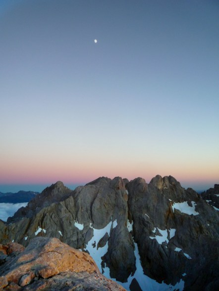 Moon high over the Picos, lighting our way down