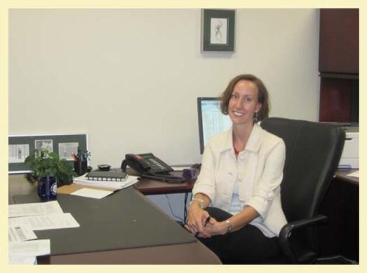 Meg Phillips at her desk in College Park, MD.