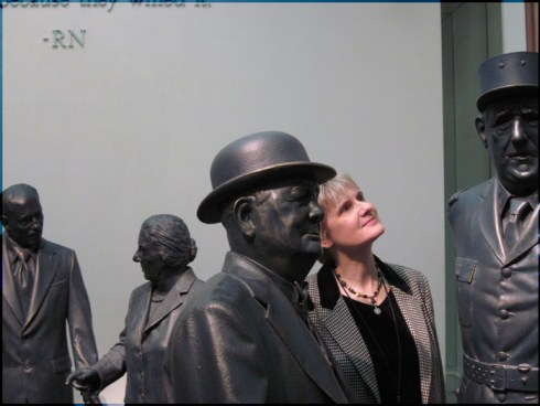 Pam with statues in Museum gallery (Can you name these famous people as well?).