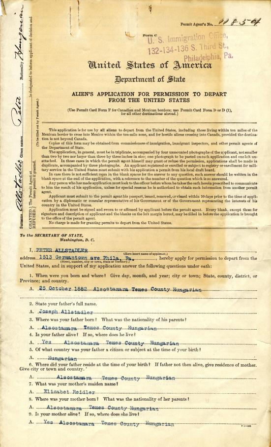 """Cover page of the """"Aliens' Application for Permission to Depart from the United States"""""""