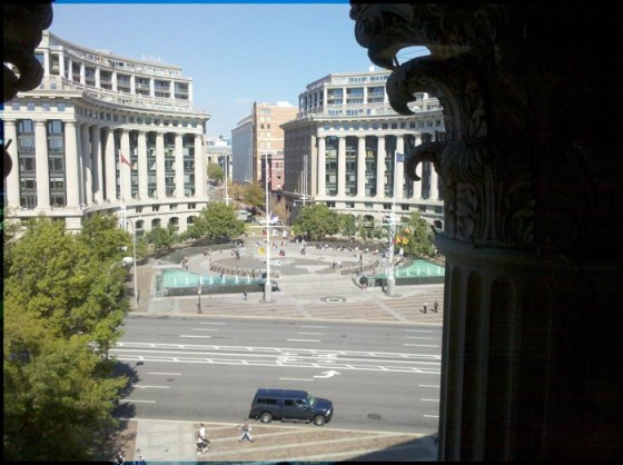 Hilary: And if you are very nice, Nancy will let you come in her cubicle and admire her view of Pennsylvania Avenue and the Navy Memorial across the street.