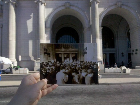Original Caption: The Arrival of President Wilson among Suffragettes in Union Station, Washington, DC, circa 1918.  ARC ID 533785.