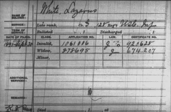 Civil War pension index card for Lazarus White and his widow, Diana