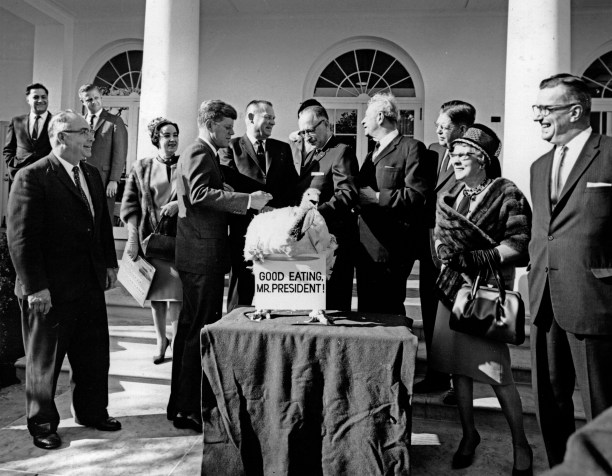 The President Receives Thanksgiving Turkey from Poultry and Egg National Board, Accompanied by Senator Everett M. Dirkson , 11/19/1963