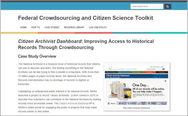 Citizen Archivist Dashboard Case Study
