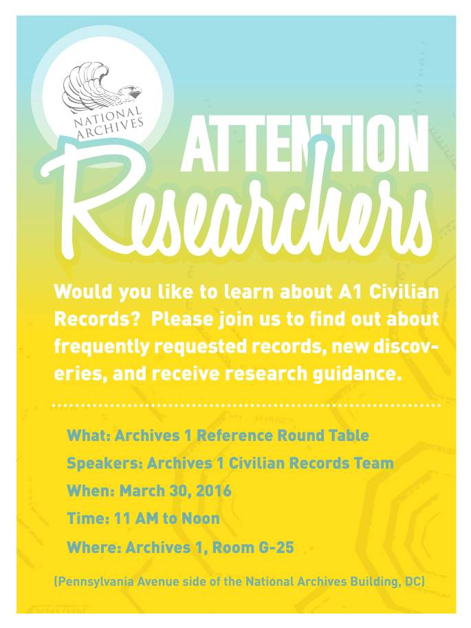Event flier for Reference Roundtable 3/30/2016