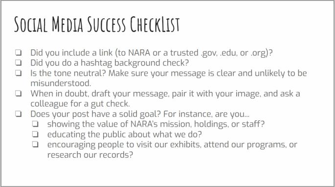 Social Media Success Checklist