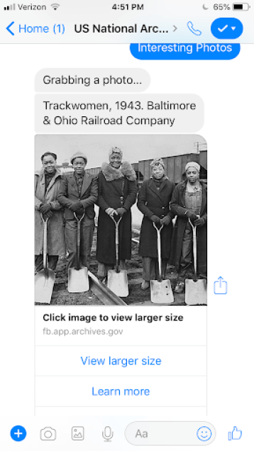 Screenshot of an interesting photo in the chatbot. This photo is of five women trackworkers with shovels. Baltimore & Ohio Railroad, 1943.