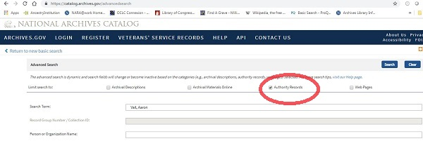 Screen Shot of Advanced Search for Authority Records.