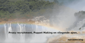 kameraad van de narcist proxy recruitment, puppet making en vliegende apen