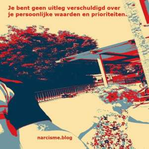 narcisme.blog Je bent geen uitleg verschuldigd over je persoonlijke waarden en prioriteiten