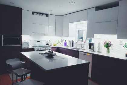 rectangular white island table in kitchen