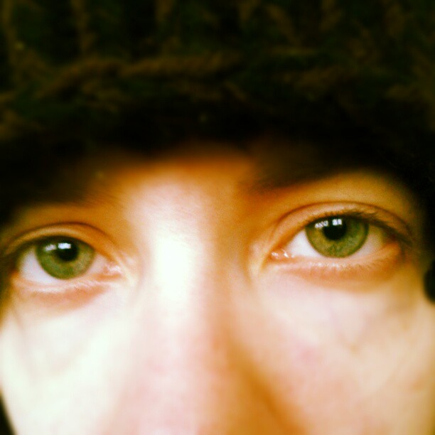 a closeup photo of laurel green's eyes and the bridge of her nose