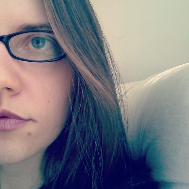 a closeup of half of laurel green's face