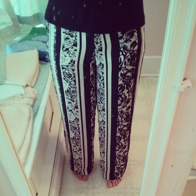 a photo of laurel green's legs dressed in hippie pants