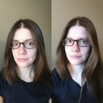 photos of laurel green wearing oval glass and rectangle glasses