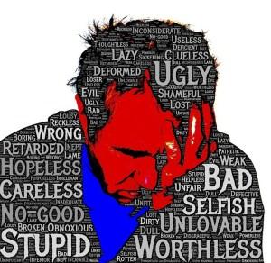 sad man with words of shame, shame game