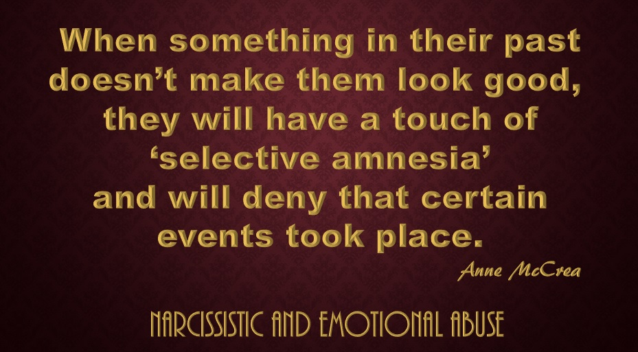 Image result for narcissist selective amnesia