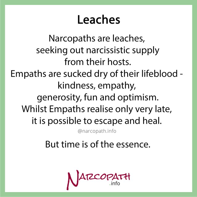 Narcopaths are parasites, extracting narcissistic supply / fuel from their hosts