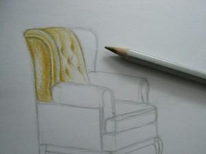در حال حاضر سوال در مورد چگونگی رسم صندلی نباید دشوار باشد. کار آماده را می توان در قاب ساخته شده و یا ترک حافظه به عنوان یک یادآوری از مراحل اول در طراحی.