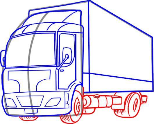 Pasul 2 Dealer Desenați contururile cabinei de camion.