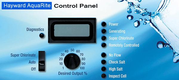 Merawat kolam renang salt chlorinator - control panel