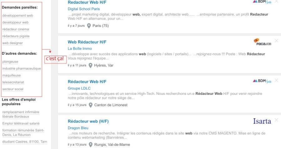 Vous trouverez les recherches similaires sur la gauche du site Jooble
