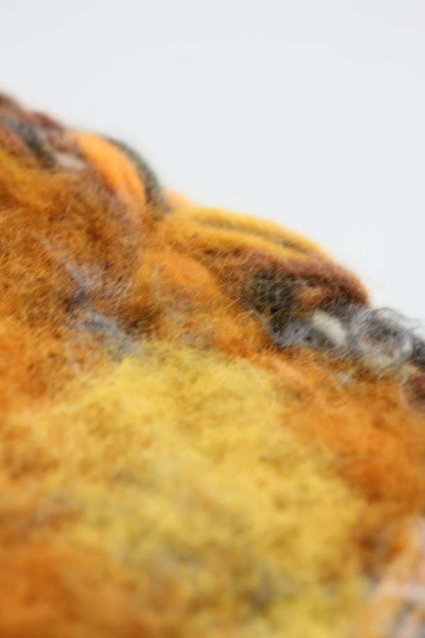 Close up - The fibres were felted nicely into the crocheted layer underneath.