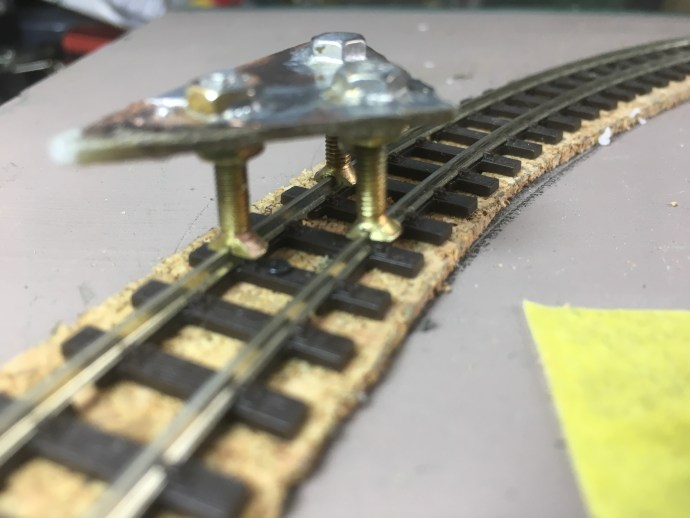 Home-made 3-point track gauge for Peco 009 Code 80 rail