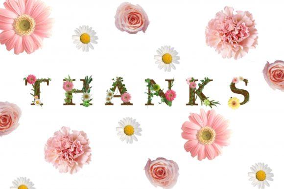 THANKSの文字と花