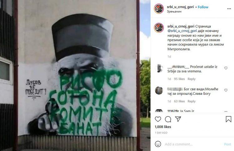 BEBINA ŠKOLA, Milo i Vučić prave haos: Oskrnavljen mural Amfilohiju u Zrenjaninu! 1