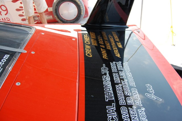 The long, straight oil streaks on the rear deck and trunk lid indicated high speed attached airflow on the rear window and deck. This excellent flow quality was one of many innovations that made the 1969 Dodge Charger Daytona the dominant car of its day in NASCAR.