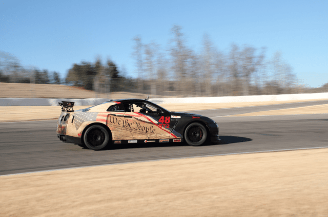 You might recognize this GT-R from a previous GoPro Move of the Month. After hitting a tire barrier at Carolina Motorsports Park, Mark West put his Nissan GT-R back together, complete with the U.S. Constitution theme and all.