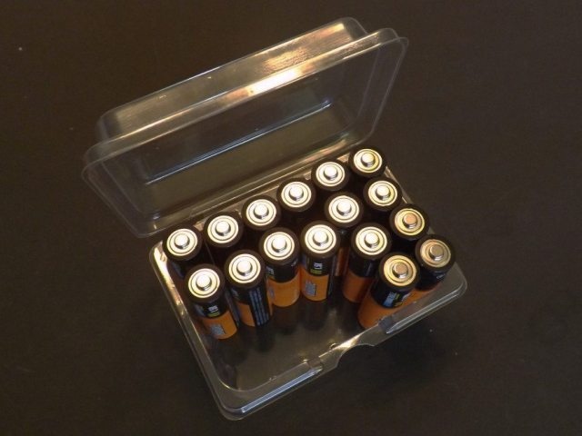 AA batteries are some of the most common and inexpensive batteries you will find. Because they are so common, they are the perfect battery to use in a portable power source. Eight of these together make 12-volts of power.