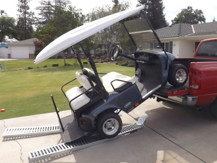 We bought ramps from Harbor Freight to drive our golf cart into the bed of our truck. The ramps were rated at 2,000 pounds, but apparently just not all at once. Good news, we took them back to Harbor Freight for a full refund.