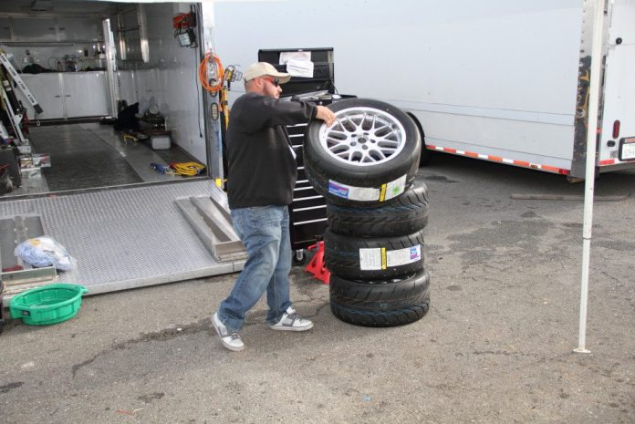 Take care of your tires while transporting the car and gear to the track. Preferably, tow with old tires on the car, saving the race tires for qualifying or the race.