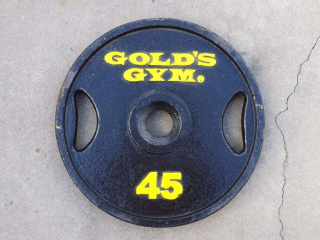 Wal-Mart sells inexpensive ballast. Pricing out lead or tungsten, which is what F1 uses, meant we needed a lot of cash, which we don't have, so we went with Gold's Gym plates we painted black.