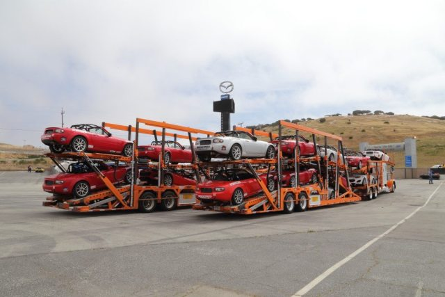 Two car carriers loaded with Mazda MX-5 racecars arrived Wednesday after a cross-country trip from Road Atlanta.