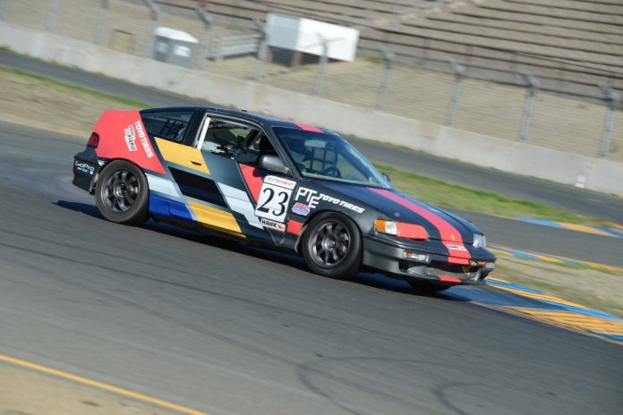Steve Peterson started from second, but finished third in Honda Challenge 1.