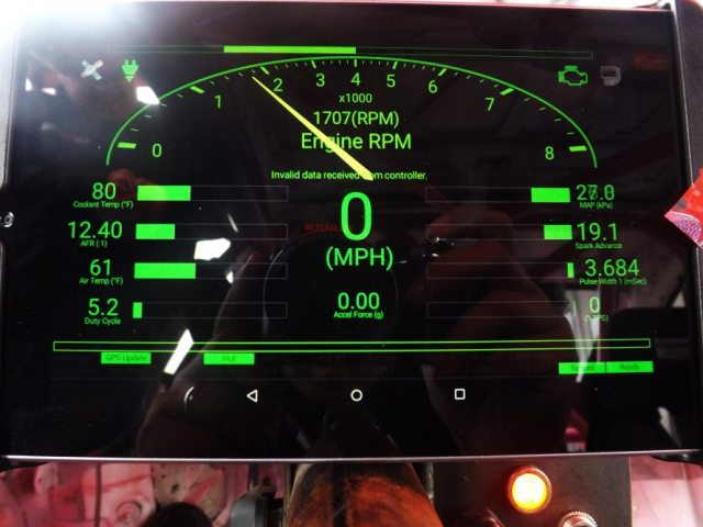 The digital dashboard on the tablet shows a multitude of information, from rpm, speed, acceleration force, coolant temperature, air-fuel ratio, intake air temperature, spark advance, oil pressure, to a whole bunch of other data I wouldn't know what to do with.