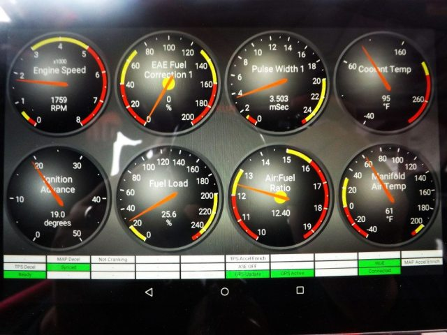 You can switch the display to show specific gauges, for instance fuel pressure, displayed as fuel load, so you can source a problem or see what changes you may want to make while tuning the car in the future.
