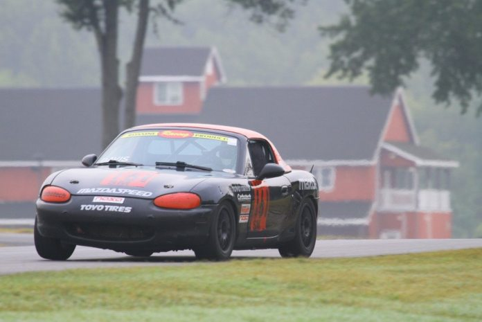 Jonathan Davis finished third in Spec Miata, but moved up after post-race protests ahead of him.