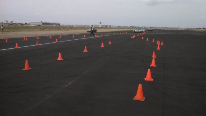 Before students do the split-decision drill, they participate in the antilock-braking drill, where they get to feel what the car does and hear the noises it makes in a panic stop.