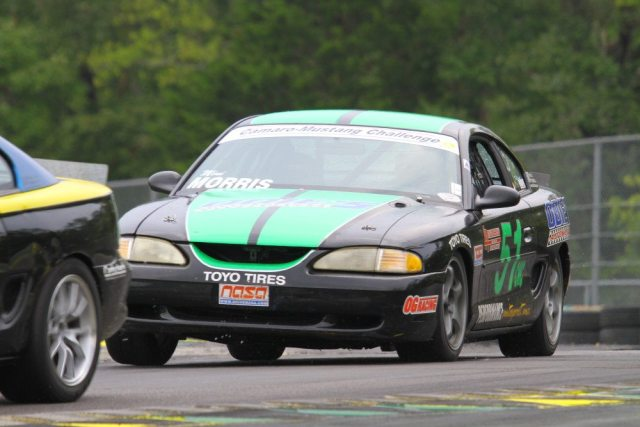 Chris Morris dropped out early, but he completed enough laps over another competitor to take third in Camaro-Mustang Challenge.