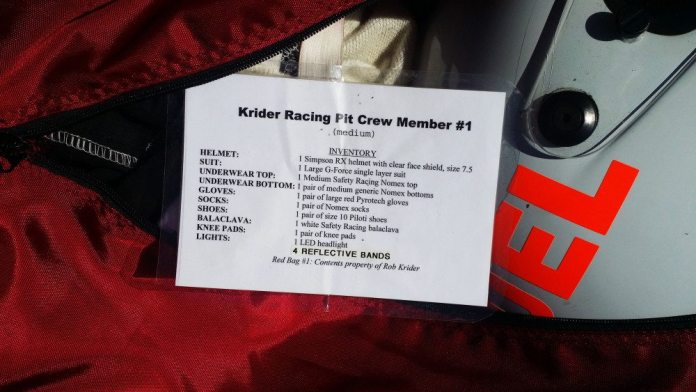 Once a long race weekend is over, volunteer crew members scatter like cockroaches. Once they leave, it is difficult to get stuff back from them. This inventory list helps them remember to put stuff back into the bag so we can keep it all together. What gets monitored gets done. You would be surprised how well this little laminated card works.