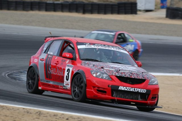 On Saturday in the Touring Car class, Pete Bovenberg was handed a penalty that put him to last place, and the victory went to Tim Barber in his Mazdaspeed 3.