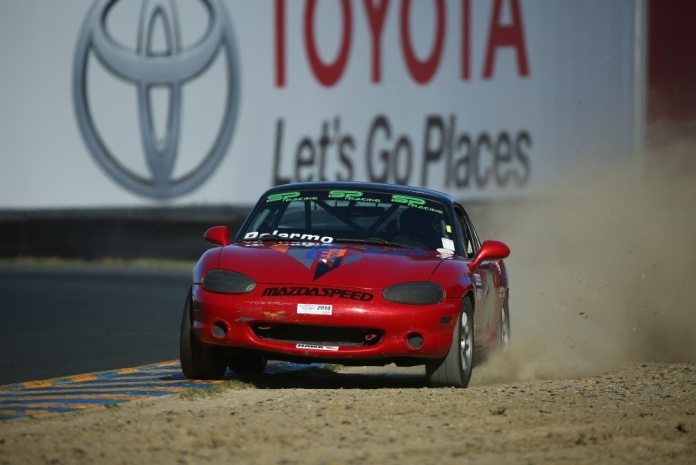 Hernan Palermo fought his way from 15th on grid to finish second in Spec Miata.