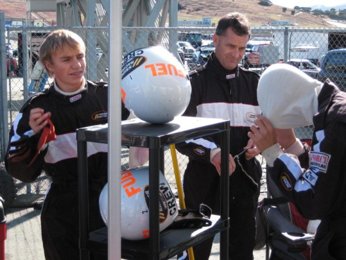 Crew members don't want to wear their helmets all day long, which means they are going to need a place to set them. Give them a place or you will have helmets rolling all around your pit space. A simple storage rack — around $25—that is easily taken apart and stored in the race trailer can keep things tidy in your pit area.