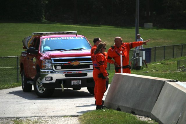The safety crew at Turn 5 was always at the ready.